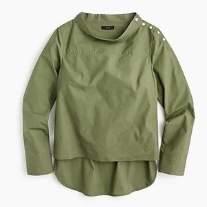 NWT J. Crew Funnel Neck Top Olive Size 14